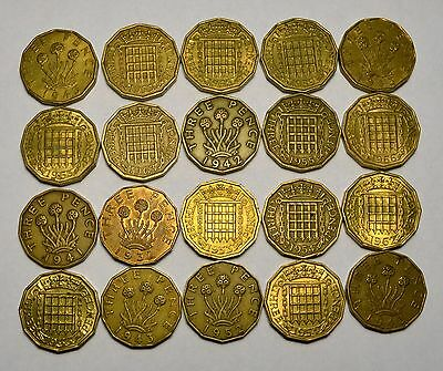 20 Great Britain Three Pence Foreign Coins, Mixed Unsearched Dates