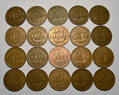 20 Great Britain Half Penny Foreign Coins, Mixed Unsearched Dates