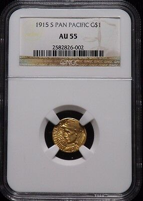 1915 S Pan Pacific $1 Dollar Gold Coin Certified NGC AU 55