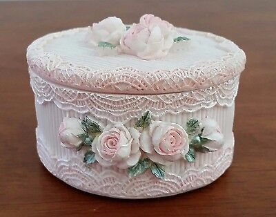 PINK LACE ROSE Decorated Resin Shabby Chic Round Trinket Jewellery Vanity Box