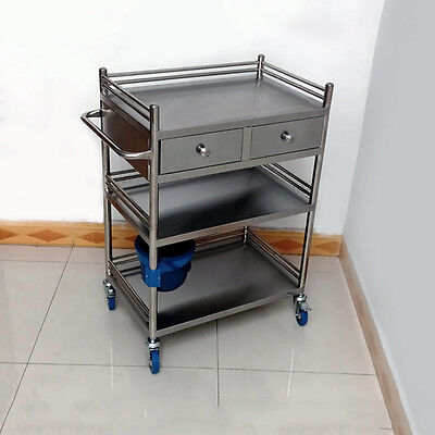 Beyond 3 Layer 2 Drawer Stainless Steel Serving Medical Dental M99G Cart Trolley