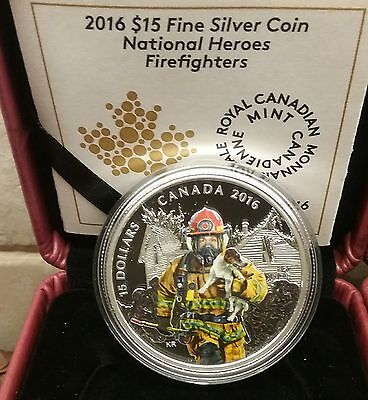 Firefighter National Heroes $15 2016 3/4OZ Pure Silver Coloured Canada Coin