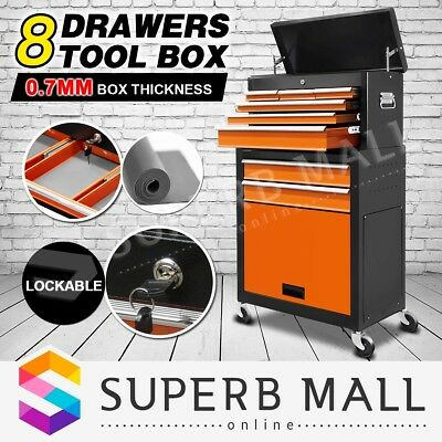 8 Drawers Mechanic Tool Box Chest Cabinet Toolbox Castor Trolley Roller Storage