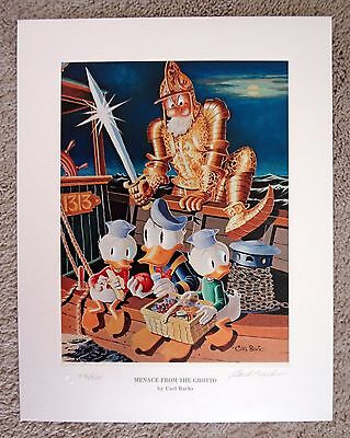 Carl Barks Litho Menace From the Grotto 576/595 Disney Donald Duck Scrooge Art