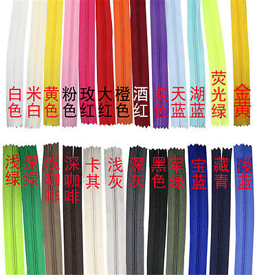 10pc 11Inch Nylon Coil Zippers Tailor Sewing Craft Closures Connectors Invisible