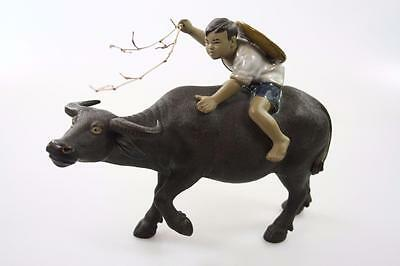 Vintage Chinese Hand Made Of Boy Riding Ox Figure
