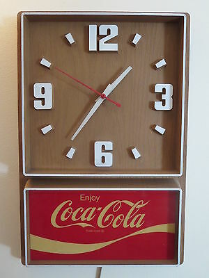 Coca Cola Electric Wall Clock WORKS Vintage Coke Advertising