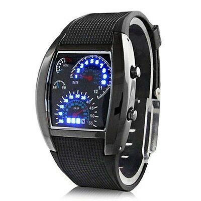 Fashion Men's Black Stainless Steel Sport Digital LED Date Analog Wrist Watch AU