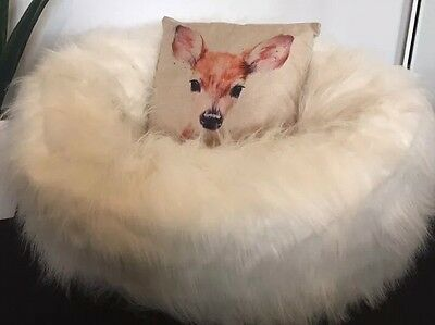 *CHRISTMAS GIFT IDEA* NEW SHAGGY WHITE FUR beanbag Cover Large Luxury Chair $149