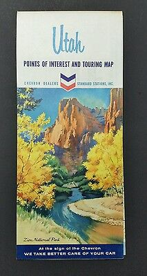 Chevron Oil Co Road Map Of Utah Standard Oil 1964 Vintage Lds Free Shipping