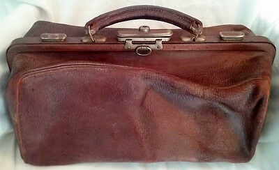 ANTIQUE DOCTOR BAG Circa 1900 Distressed Leather 100+ Years Old Medical