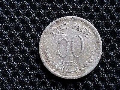 India - 50 Paise - Copper Nickle Error Coin - With 6'o Clock Die Rotation -Xrare