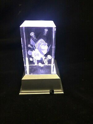 Jelly Fish -  3D Laser Etched Crystal Block With 4 Lights LED Light base