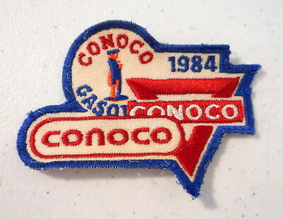 1984 Conoco Embroidery Patch Gasoline Oil Red White Blue Vintage