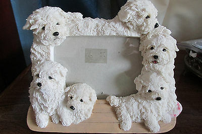 Adorable Resin Cast Picture Frame,6 Puppies Euc