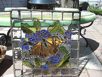 Stained Glass Window Panel Suncatcher  Butterfly Artist Signed One Of A Kind