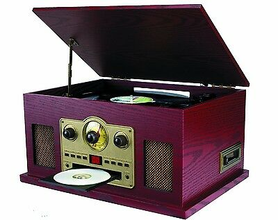 NEW Sylvania 5-in-1 Vtg Wooden Record Player! CD Radio Cassette Turntable iPhone