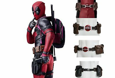 Deadpool Belt Adjustable PU Men Waist Belt with Pocket COSplay Costume Accessory