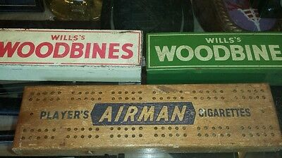 Vintage  2 Sets Of Wills Woodbine Tin Dominoes & Players & Wills Crib Board