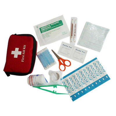 Red Small Portable Outdoor Survival Travel Emergency Gear First Aid Kit Bag UK