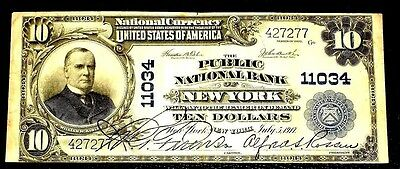 "1902 The Public National Bank ""new York"" $10. Ch 11034. Crisp, Vf+++"