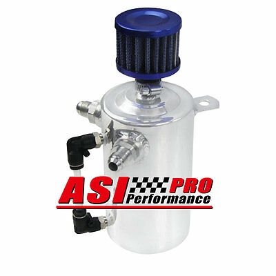 PRO 0.5L Oil Catch Tank Can Reservoir Breather Blue Filter Alloy Car Engine UK