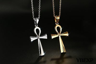 """20"""" Mens Stainless Steel Gold Silver Egyptian Ankh Cross Pendant Necklace Chain"""