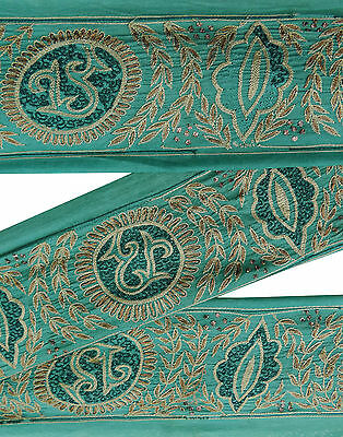 Vintage Indian Sari Border Embroidered Trim Sewing 1YD Green Sarong Ribbon Lace