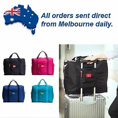 BLACK Waterproof Carry on Cabin Luggage Foldable Big Travel Gym Bag