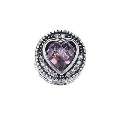 S925 Sterling Silver EURO Radiant Hearts Pink CZ Charm +FREE Pandora Cloth