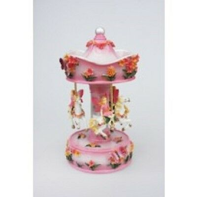 """Pink Floral  Musical Carousel  26Cms/ 10""""  Plays Carousel Waltz Gift Present"""