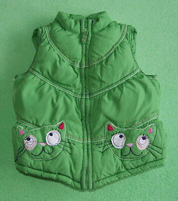 Next green gilet bodywarmer with kitty on pocket for girl age 3-4 years 104 cm