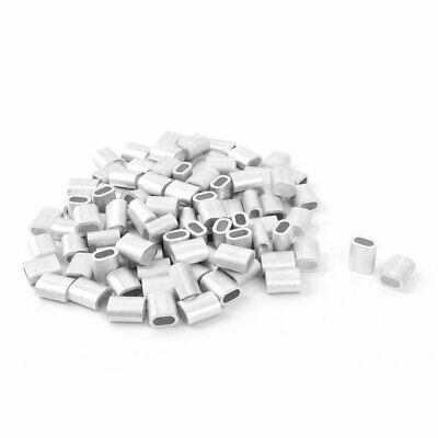 3mm Dia Steel Wire Rope Aluminum Ferrules Sleeves Clip Cable Crimps 100pcs