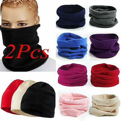 2x 3in1 Winter Sport Thermal Fleece Scarf Snood Neck Warmer Face Mask Beanie Hat