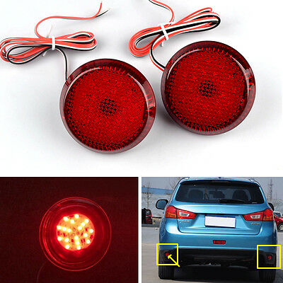 Red LED Rear Bumper Round Reflectors Left & Right For NISSAN QASHQAI 2007-2015