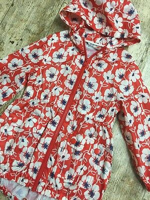 Girl Floral Red Lightweight Long Raincoat By NEXT Age 3-4 Years