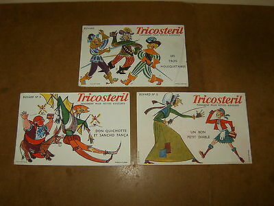 3 anciens buvards - TRICOSTERIL - MOUSQUETAIRES + DON QUICHOTTE + PETIT DIABLE