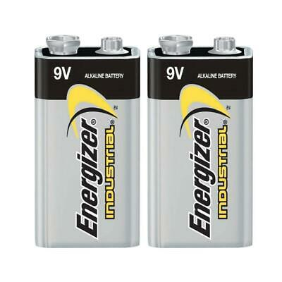 2x Genuine Energizer 6LR61 Industrial Battery 9V Alkaline Batteries