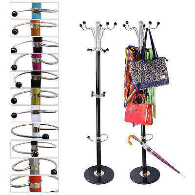 Coat Hanger Hall Storage Rack Umbrella Clothes Holder Hat Hook Tree Stand Metal