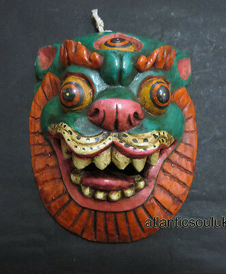 M308 Hand Crafted Tibetan Dragon Wall Hanging Gift WOODEN Painted MASK NEPAL