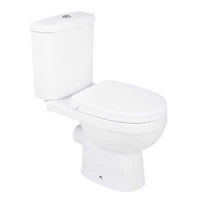 Contemporary White Ceramic Closed Coupled Bathroom Toilet, Seat, Pan & Cistern