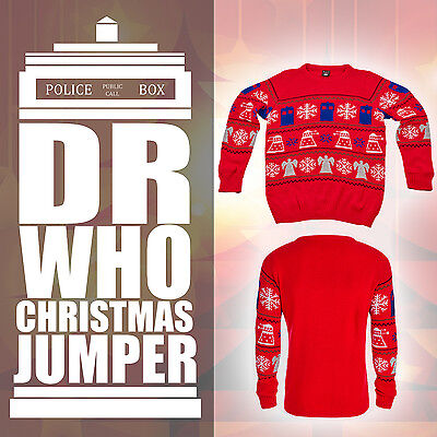 Bbc Official Dr Doctor Who Tardis Dalek Christmas Jumper Sweater Collectable