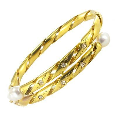 Bracelet jonc ciselé diamants perles fines Or jaune 18K Classique
