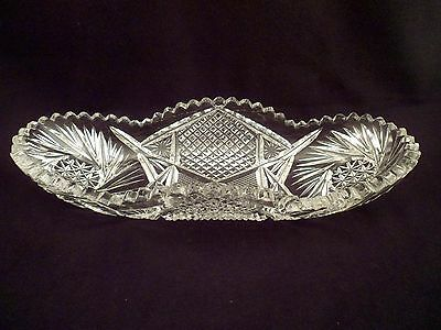 "American Brilliant Period Antique Cut Crystal Celery Dish, Tray, 10 1/2"" Length"
