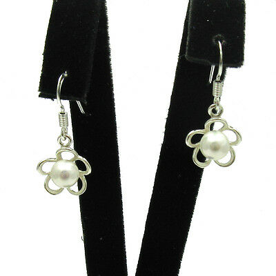 STERLING SILVER EARRINGS SOLID 925 SMALL FLOWERS WITH 6mm PEARLS E000598