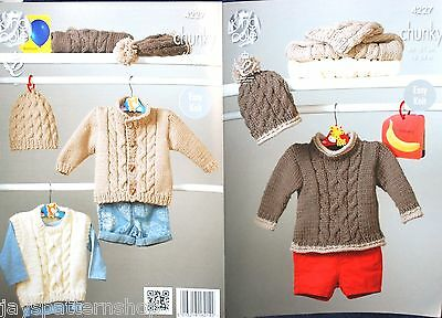 Babies Childs Chunky Knit Easy Jacket Hat Sweater Knitting Pattern 18 - 24 Inch