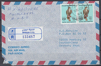 1990 UAE, R-Cover Sharjah to Germany, Birds Falcon Vögel Falke [cm782]