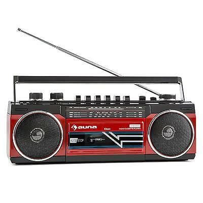 Auna Portable Stereo Audio Speaker System Boombox Fm Radio Cassette Deck Usb Red
