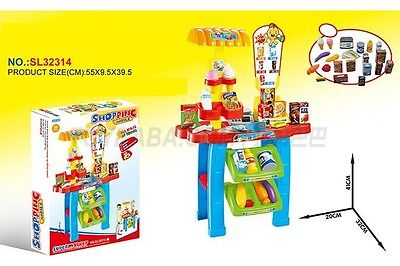 Super Market Shopping Mobile Stall Kit Play Toy Grocery Food Shop Set Gift Kids