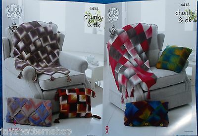 Chunky & Double Knit Assorted Blanket & Cushion Cover Knitting Pattern